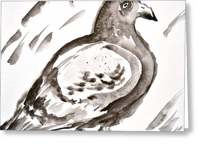 Feral Pigeon Greeting Cards - Pigeon I Sumi-e Style Greeting Card by Beverley Harper Tinsley