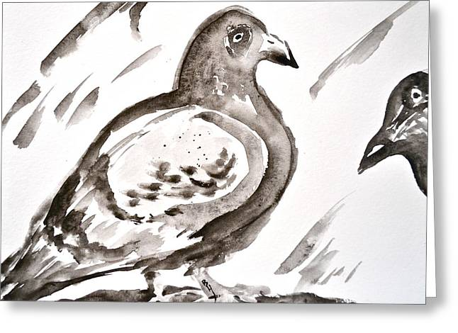 Feral Pigeon Greeting Cards - Pigeon II Sumi-e Style Greeting Card by Beverley Harper Tinsley