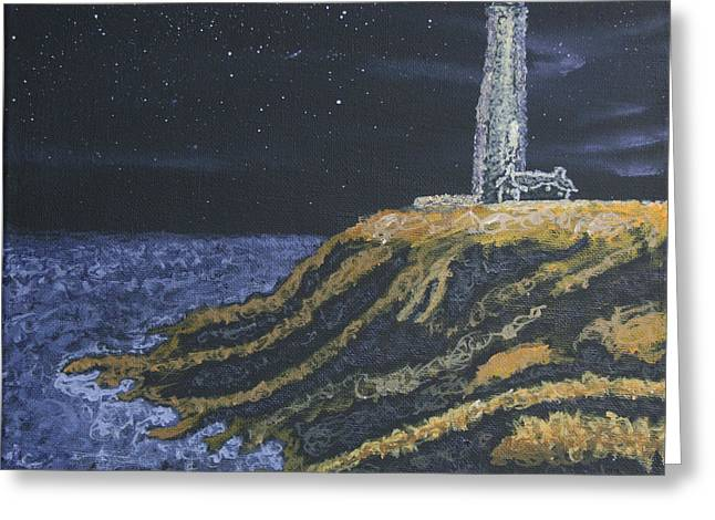 Ian Donley Greeting Cards - Pigeon Lighthouse Night Scumbling Complementary Colors Greeting Card by Ian Donley
