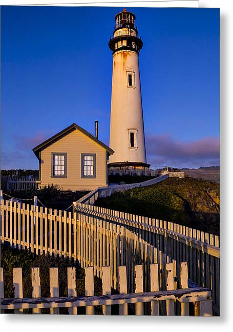 Pigeon Point Light Station Greeting Cards - Pigeon Point At Sunset Greeting Card by Garry Gay