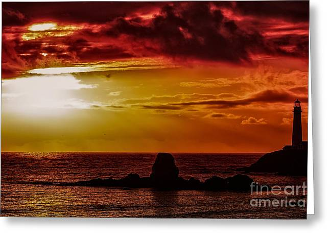 Natural Focal Point Photography Greeting Cards - Pigeon Point Light House at Sundown Greeting Card by Natural Focal Point Photography