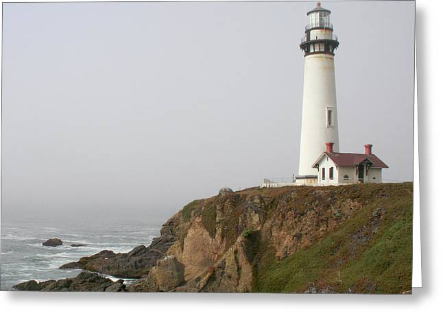 Foggy Beach Greeting Cards - Pigeon Point Lighthouse Greeting Card by Art Block Collections