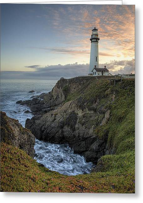 Pigeon Point Lighthouse Greeting Cards - Pigeon Point Lighthouse at Sunset Greeting Card by Adam Romanowicz
