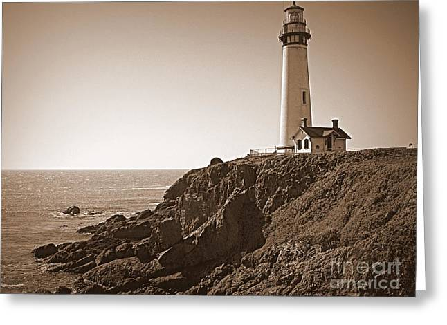 Cliffs And Houses Greeting Cards - Pigeon Point Lighthouse in Sepia Greeting Card by Carol Groenen
