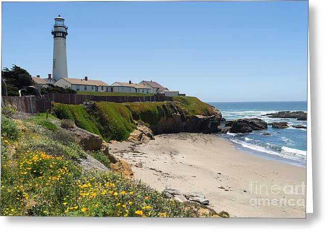 Ocean Vista Greeting Cards - Pigeon Point Lighthouse in the Coast of California DSC1258 Greeting Card by Wingsdomain Art and Photography