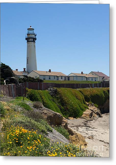 Ocean Vista Greeting Cards - Pigeon Point Lighthouse in the Coast of California DSC1259 Greeting Card by Wingsdomain Art and Photography