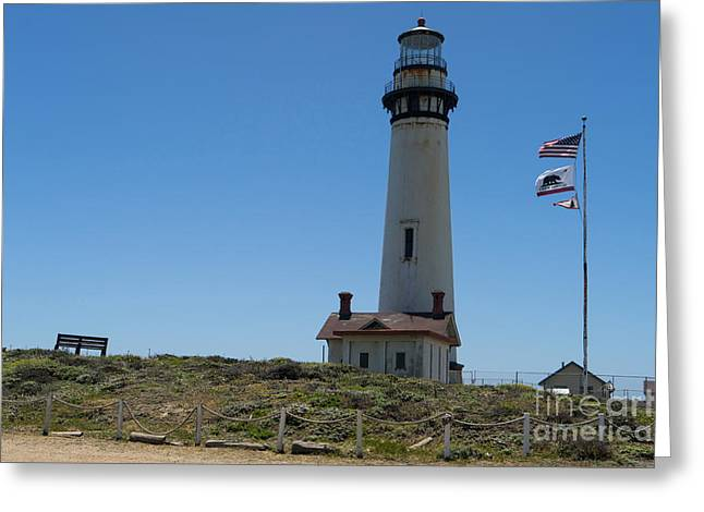 Ocean Vista Greeting Cards - Pigeon Point Lighthouse in the Coast of California DSC1260 Greeting Card by Wingsdomain Art and Photography
