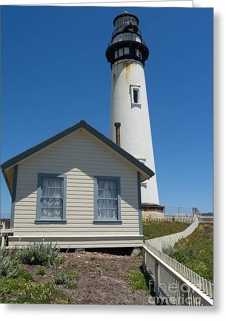 Ocean Vista Greeting Cards - Pigeon Point Lighthouse in the Coast of California DSC1275 Greeting Card by Wingsdomain Art and Photography