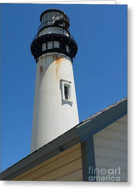 Ocean Vista Greeting Cards - Pigeon Point Lighthouse in the Coast of California DSC1281 Greeting Card by Wingsdomain Art and Photography