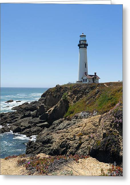 Ocean Vista Greeting Cards - Pigeon Point Lighthouse in the Coast of California DSC1285 Greeting Card by Wingsdomain Art and Photography