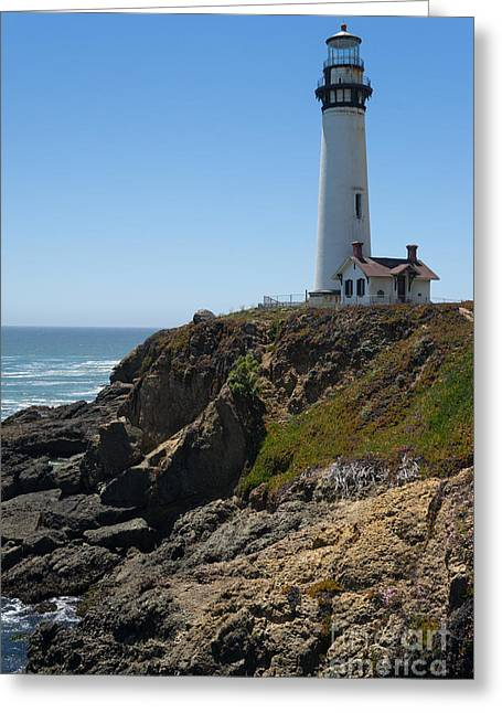Ocean Vista Greeting Cards - Pigeon Point Lighthouse in the Coast of California DSC1290 Greeting Card by Wingsdomain Art and Photography