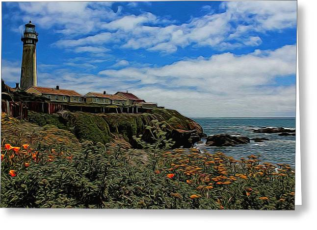 Old Digital Art Greeting Cards - Pigeon Point Lighthouse Painted Greeting Card by Judy Vincent