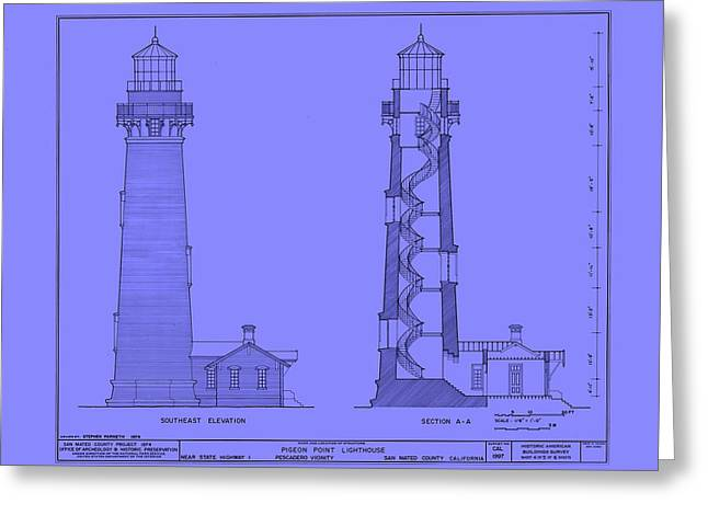 Historic Architecture Drawings Greeting Cards - Pigeon Point Lighthouse Plan - California Greeting Card by Mountain Dreams