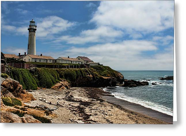 Sand Art Greeting Cards - Pigeon Point Lighthouse Greeting Card by Judy Vincent