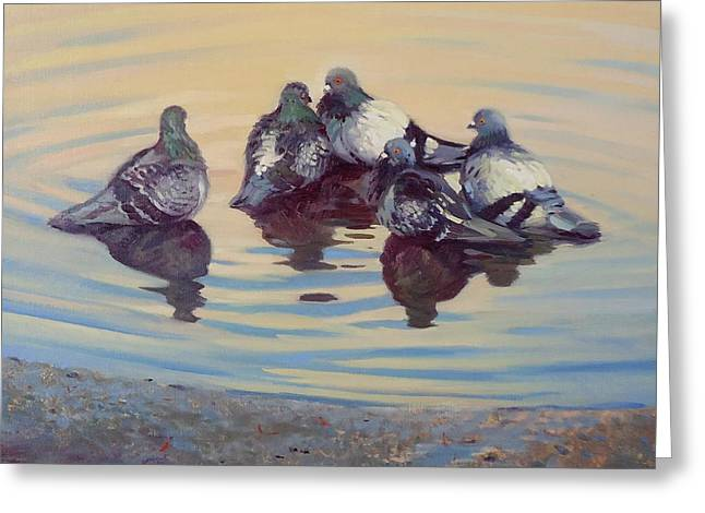 Dianne Panarelli Miller Greeting Cards - Pigeon Talk Greeting Card by Dianne Panarelli Miller