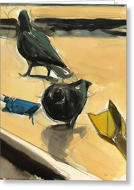 Pigeons Greeting Card by Daniel Clarke