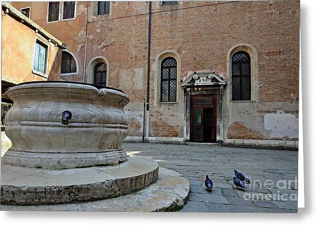 Sami Sarkis Greeting Cards - Pigeons in a courtyard by well Greeting Card by Sami Sarkis