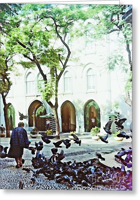 Pigeons In Lisboa Greeting Card by Sarah Loft
