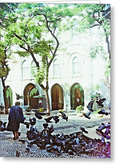 Medical Greeting Cards - Pigeons in Lisboa Greeting Card by Sarah Loft