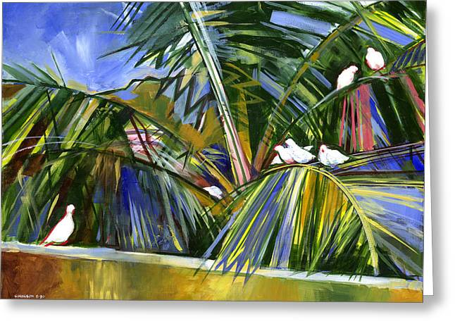 Coconut Palm Tree Greeting Cards - Pigeons on P4 Greeting Card by Douglas Simonson