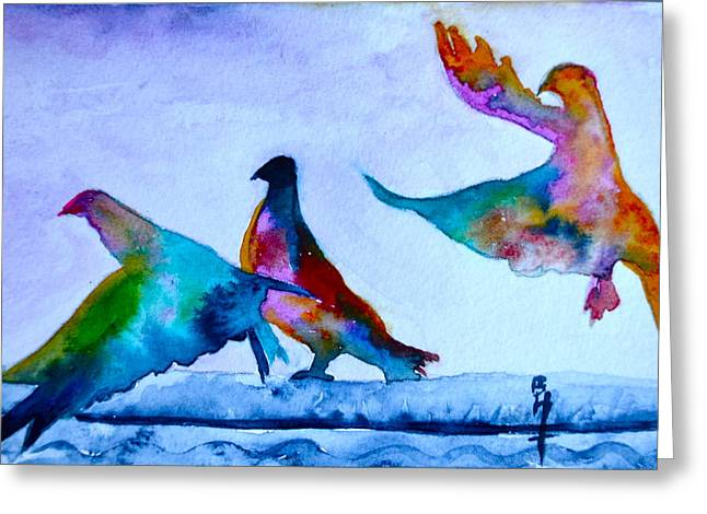 Feral Pigeon Greeting Cards - Pigeons Pigeons Pop Greeting Card by Beverley Harper Tinsley
