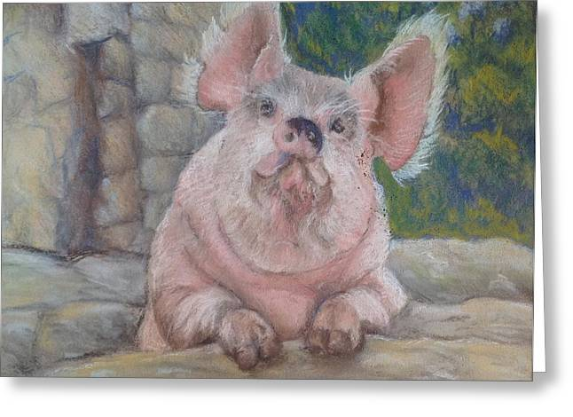Pigs Pastels Greeting Cards - Piggin Beautiful Greeting Card by Anne Smart
