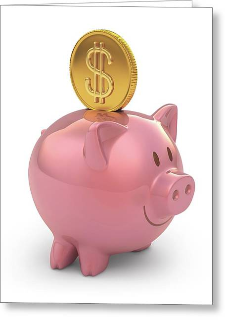 Piggy Bank And Gold Coin Greeting Card by Ktsdesign