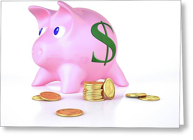 Piggy Bank And Gold Coins Greeting Card by Leonello Calvetti