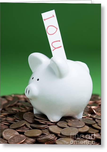 Personal-growth Greeting Cards - Piggy Bank On A Pile Of Pennies Greeting Card by Jim Corwin