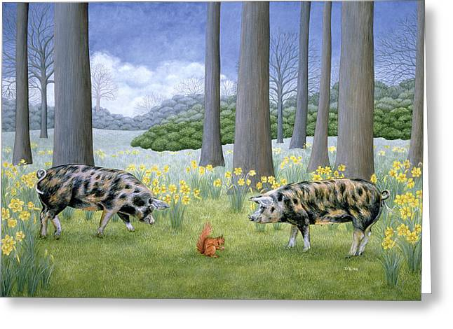 Mammals Greeting Cards - Piggy In the Middle Greeting Card by Ditz