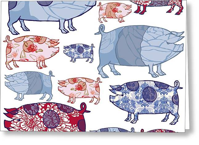 Cushion Paintings Greeting Cards - Piggy in the Middle Greeting Card by Sarah Hough