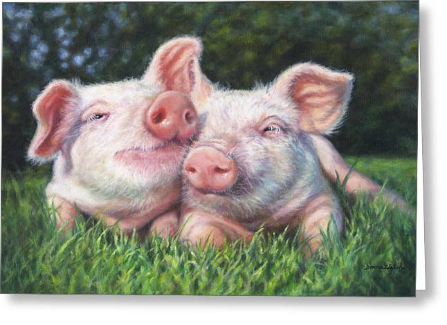Piglets Greeting Cards - Piggy Pals Greeting Card by Donna  Hillman Walsh