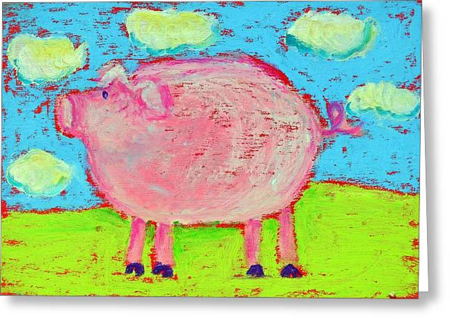 Pig Pastels Greeting Cards - Piggy-Piggy Greeting Card by Pat Olson