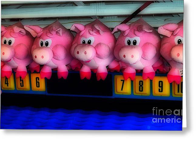 Carnival Glory Greeting Cards - Piggy Race Greeting Card by Skip Willits