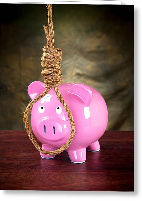 Financial Failure Greeting Cards - Piggybank and noose Greeting Card by Joe Belanger