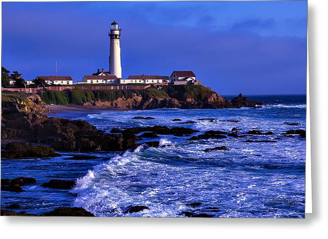 Pigeon Point Light Station Greeting Cards - Pigion Point Light House Greeting Card by Garry Gay