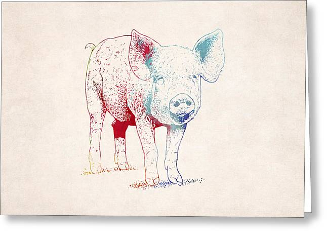 Piglets Greeting Cards - Piglet Illustration Drawing Greeting Card by World Art Prints And Designs