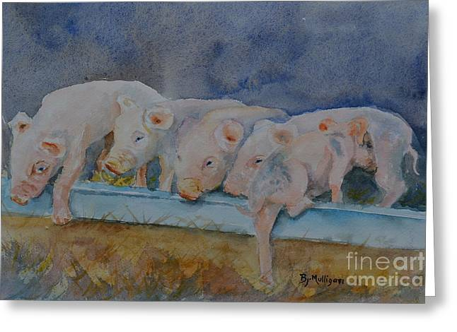 Piglets Greeting Card by Betty Mulligan