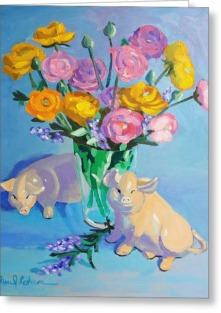 Color Green Sculptures Greeting Cards - Pigs at the Flower Market Greeting Card by Dan Redmon