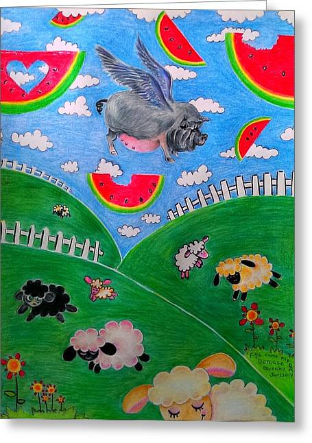 Recently Sold -  - Watermelon Greeting Cards - Pigs cant Fly Greeting Card by Denisse Del Mar Guevara