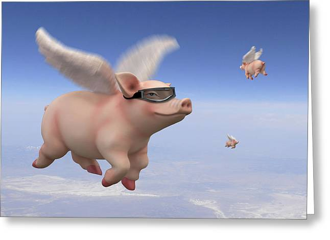 Imaginative Art Greeting Cards - Pigs Fly 1 Greeting Card by Mike McGlothlen