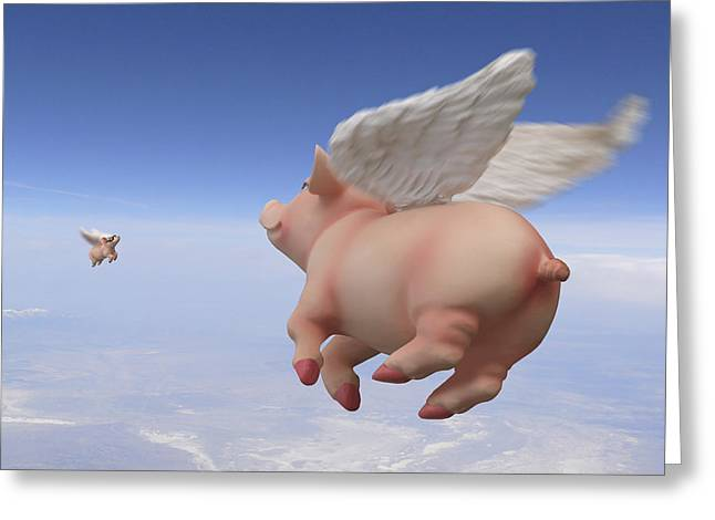 Imaginative Art Greeting Cards - Pigs Fly 2 Greeting Card by Mike McGlothlen