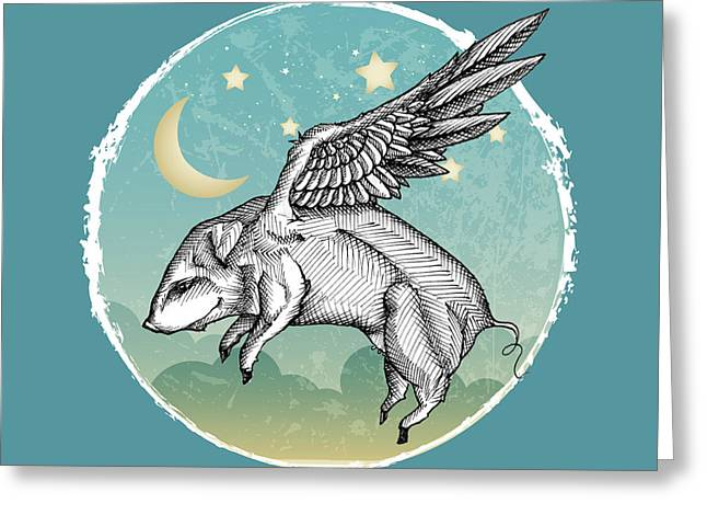 Lewis Carroll Greeting Cards - Pigs Fly Greeting Card by Mary Machare