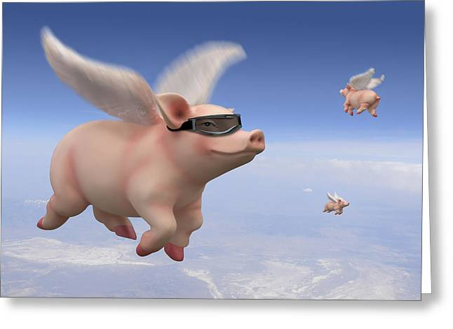 Imaginative Art Greeting Cards - Pigs Fly Greeting Card by Mike McGlothlen
