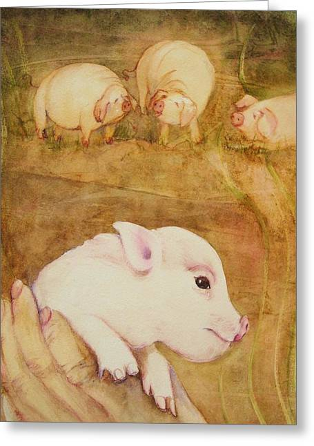 Pink And Green Hues Greeting Cards - Pigs Four Greeting Card by Georgia Annwell