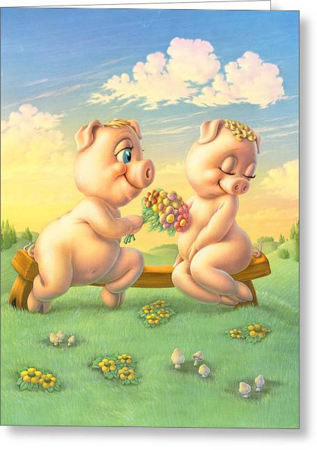 Animals Love Greeting Cards - Pigs in Love Greeting Card by Andrew Farley