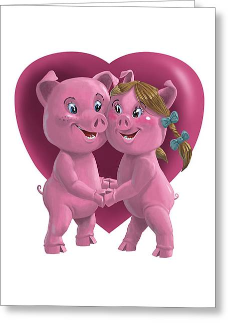 Kids Room Art Greeting Cards - Pigs In Love Greeting Card by Martin Davey