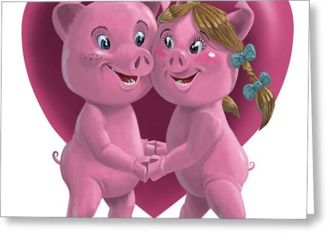 pigs in love Greeting Card by Martin Davey