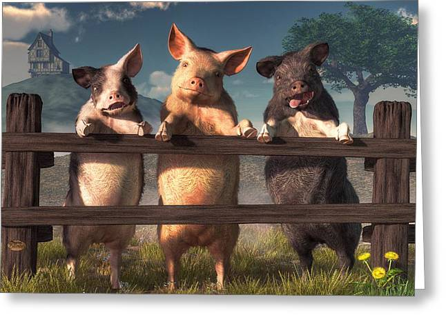 Pigs On A Fence Greeting Card by Daniel Eskridge