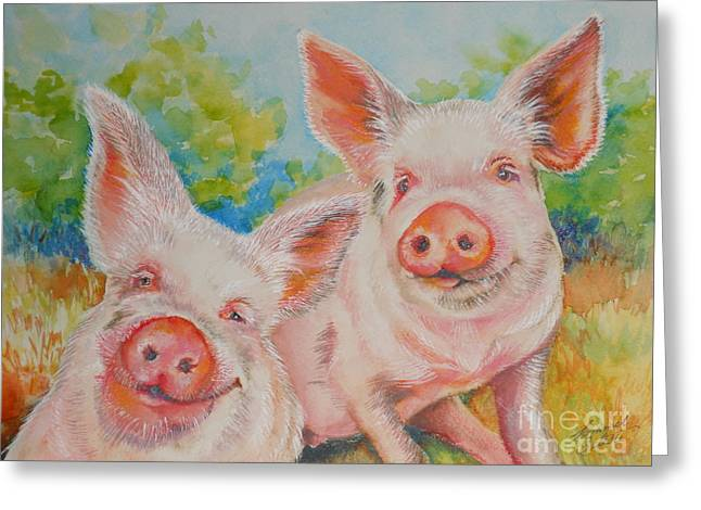 Summer Celeste Greeting Cards - Pigs Pink and Happy Greeting Card by Summer Celeste